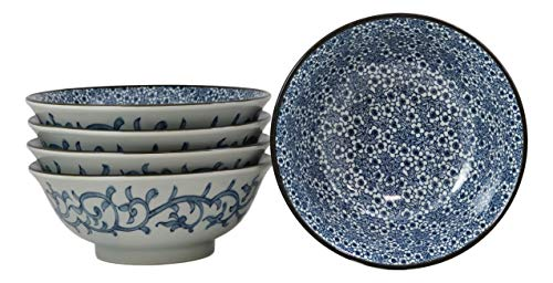 Ebros Gift Blue And White Ming Dynasty Style Floral Blossoms Ceramic Bowls Pack Of 5 Made In Japan Ramen Pho Soup Bowl Set 32oz 8