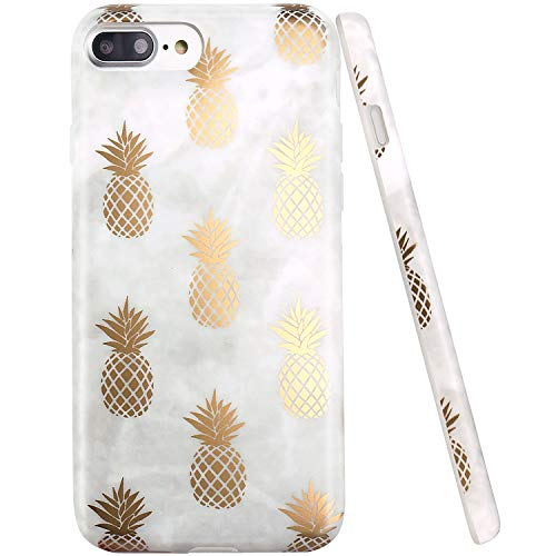 iPhone 7 Plus Case, iPhone 8 Plus Case, JAHOLAN Shiny Gold Pineapple Gray Marble Design Clear Bumper TPU Soft Rubber Silicone Cover Phone Case for Apple iPhone 7 Plus/iPhone 8 Plus
