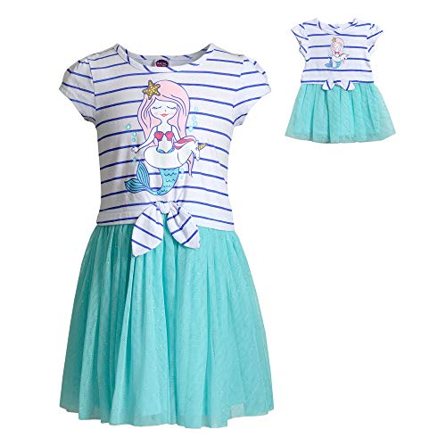 Dollie & Me Mermaid Dress Set with Matching Outfit-Girl & 18 Inch Doll Clothes, Blue 6X ()