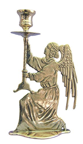 An Angel candle holder in shiny brass, 9.75''. MADE IN ITALY. by GSV001