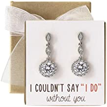 Wedding Bridesmaids Drop Earrings in Silver, Gold, Rose Gold