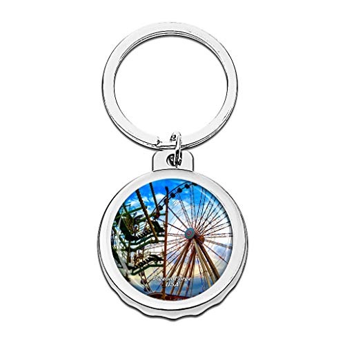 Shopping In Pigeon Forge (Hqiyaols Keychain USA America The Island in Pigeon Forge Bottle Opener Creative Crystal Stainless Steel Cap Key Chain Travel Souvenirs Gifts)