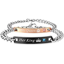 His & Hers Matching Set Titanium Stainless Steel His Queen Her King Couple Bracelet in a Gift Box