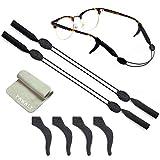 2 Sets Glasses Straps Adjustable Waterproof Eyewear Lanyard Sports Swimming 4 Anti-Slip Hooks No Tail for Kids Adults