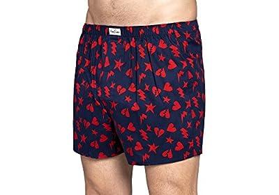 Happy Socks 1PK Mens Cotton Woven Boxer Navy/Red MUWWB-PLO-608-464
