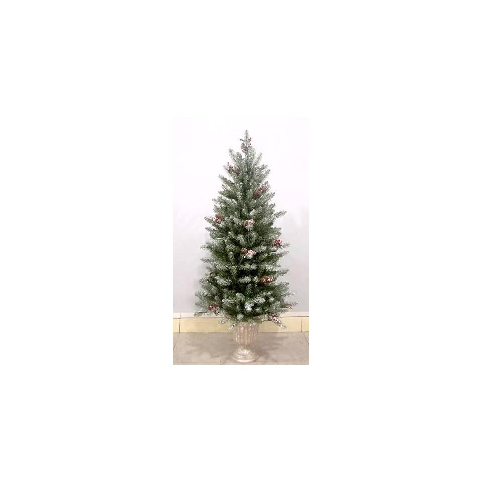 National Tree Company DUF 322 30 3 Foot Dunhill Fir Entrance Tree with Snow, Red Berries, and Cones with 50 Velvet Frost Multi Lights in Pearl Silver Plastic Pot   Christmas Trees