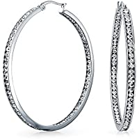 Bling Jewelry Stainless Steel CZ Inside Out Hoop Earrings