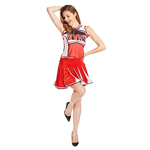 Ladies Sexy Varsity High School Cheer Girl Cheerleading Uniform Halloween Fancy Dress Costume