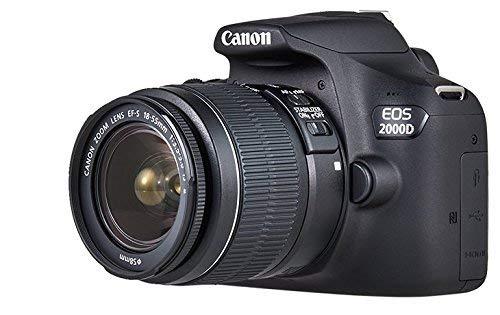Canon EOS 2000D – Cámara réflex de 24.1 MP (CMOS, Escena inteligente automática, 9 puntos AF, filtros creativos, EOS Movie, Full HD LCD 3″, WiFi/NFC) negro – Kit con objetivo EF-S 18-55mm IS II