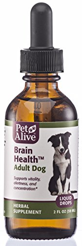 (PetAlive Brain Health for Dogs, All-Natural Herbal Remedy for Vitality, Concentration and Alertness in Adult Dogs, 2 fl. oz.)