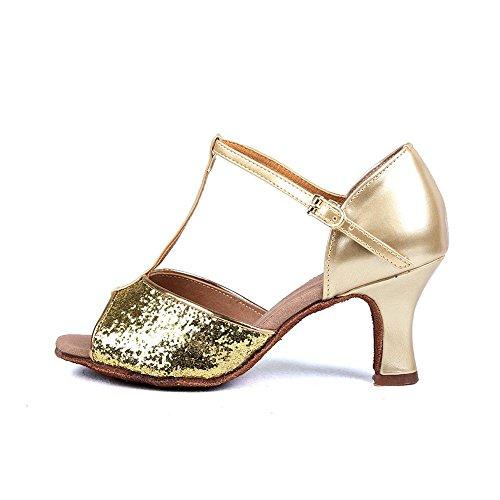 YFF Women's Ballroom Latin Tango Schuhe hochhackige Verkauf Pu/Satin, Beige 1,7