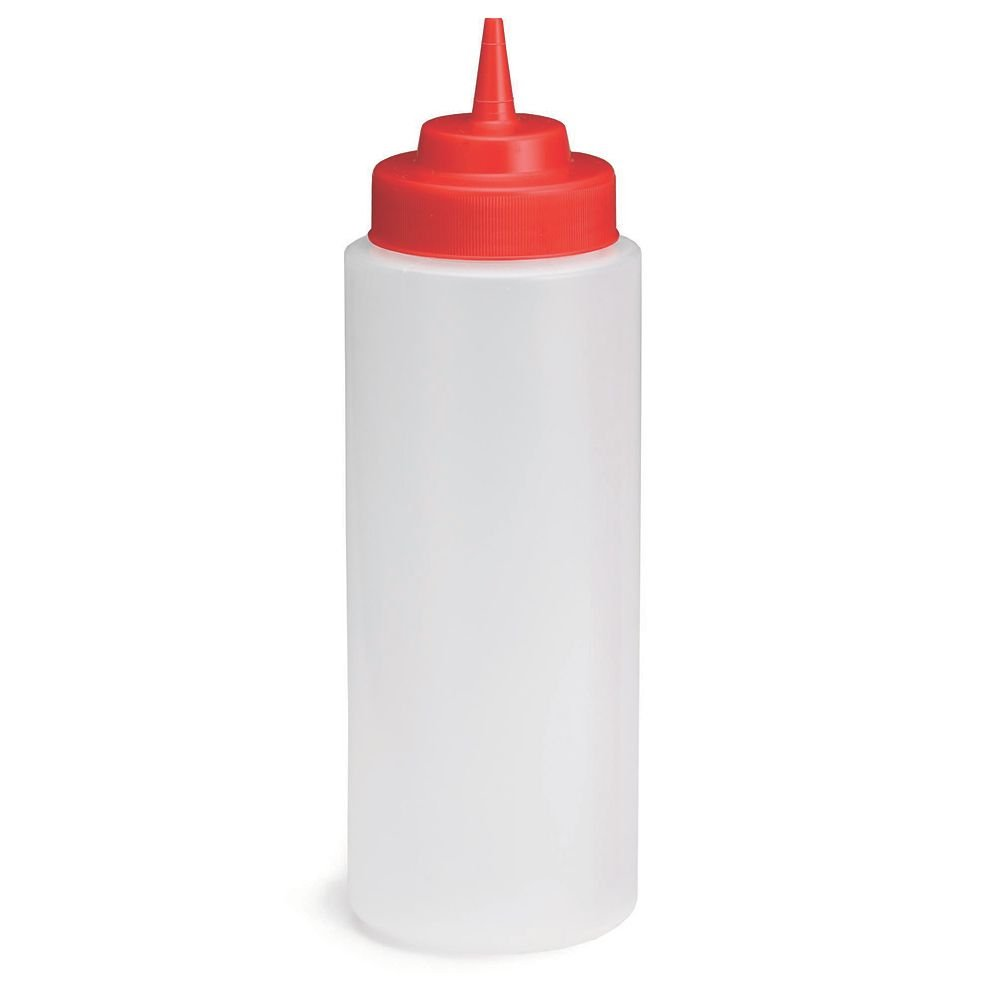 TableCraft 3263K Clear 32 Ounce Squeeze Bottle with Red Lid - Dozen