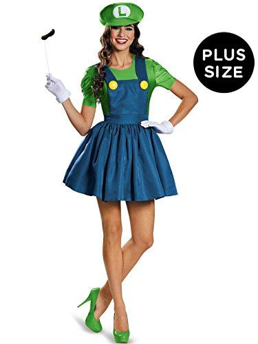 Mario Halloween Costume Women (Disguise Women's Luigi Skirt Version Adult Costume, Multi,)