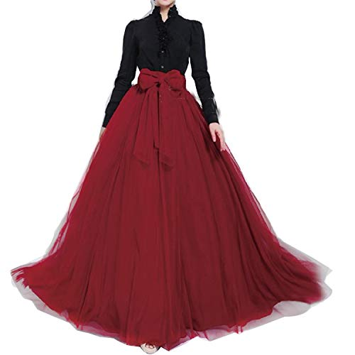 (Women Wedding Long Maxi Puffy Tulle Skirt Floor Length A Line with Bowknot Belt High Waisted for Wedding Party Evening (Wine Red, Medium,US 4-16))
