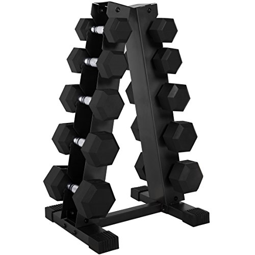 20ae3c8ef49 CAP 150-Pound Rubber Hex Dumbbell Weight Set