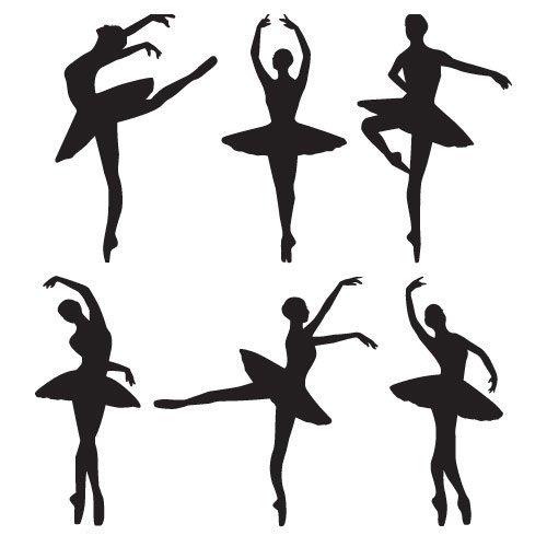 paquetes de arte de pared de vinilo de bailarines de ballet - arte de la pared de danza - 30 cm de altura * Auto W