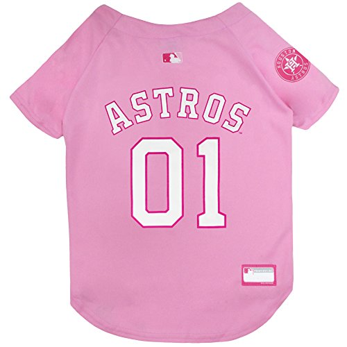 MLB Jersey for Dogs - Houston Astros Pink Jersey, Medium. Cute Pink Outfit for Pets