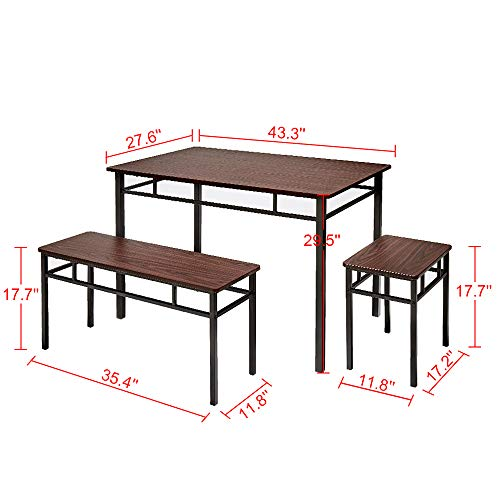 AMERLIFE 5 Piece Dining Table Set Retro Chairs Table Set Counter Height with 2 Stools 2 Benches Backless for Dining Kitchen Living Room Breakfast Brown Finish Metal Legs, 43.3 x 27.6 x 20.5 in
