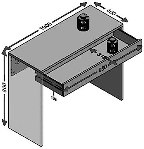 FMD Möbel Checker Escribanía, Roble Rústico, 100x40x80 cm: Amazon.es: Hogar