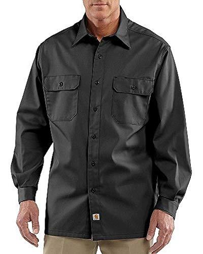 Carhartt Men's Twill Long Sleeve Work Shirt Button Front,Black,Small
