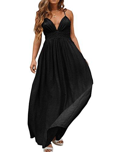 Long Sexy Deep Dresses V Neck Halter Women's Backless Black Mode CA Aqw1Hw8