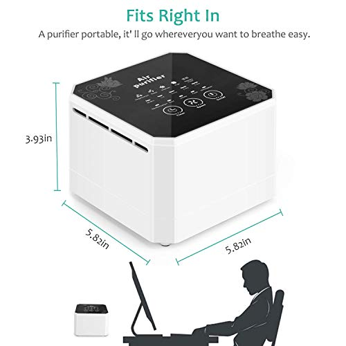 potulas Air Purifier with True HEPA Filter, 3-in-1 Filter Desktop Air Cleaner Eliminates Pet Dander, Odors, Dust and More, Great for Personal Office, Bedroom, Small Spaces