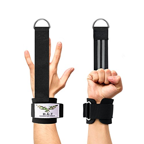 H.G.T Hands Free Lifting Wrist Straps by (Pair) - Finger Protector for Tendon and Joint Injury, Recovery & Pain Relief - Gym Exercise Cuffs for Resistance Bands & Cable Machine Attachment by H.G.T