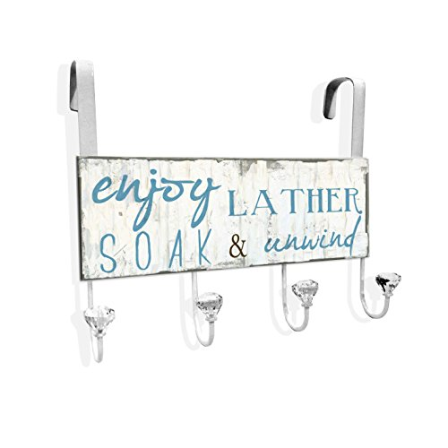 Stupell Home Décor Enjoy, Lather, Soak And Unwind Over The Door Hanger, 12 x 10.5 x 2, Proudly Made in USA