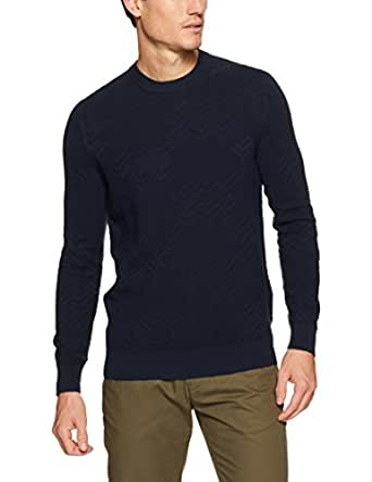 Ben Sherman Men Chevron Pattern Crew Neck Knit, Navy, S