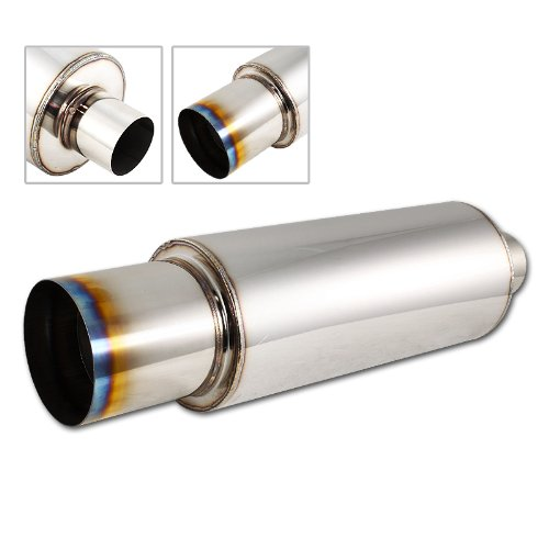 "Univeral 4"" N1 Burnt Tip Stainless Steel Muffler Weld on Exhaust 2.5"" Inlet"