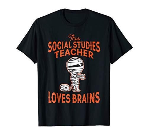 Funny Social Studies Teacher Love Brains Halloween Shirt