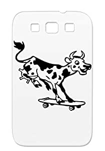 Cow On Skateboard Funny Skating Comic Fun Ox Ranch Cow Bull Calf Skateboard Black For Sumsang Galaxy S3 Case Cover