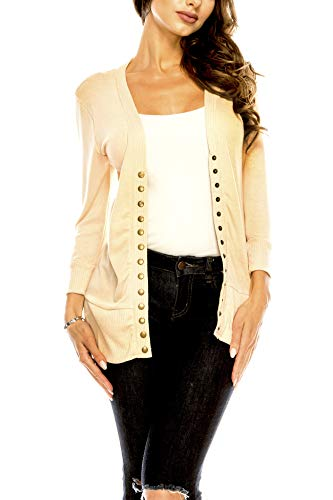 (Women's V Neck Cardigan Snap Button 3/4 Sleeve Sweater with Ribbed Detail Collection Plus Size [S-3X] Sand 2X Large Plus)