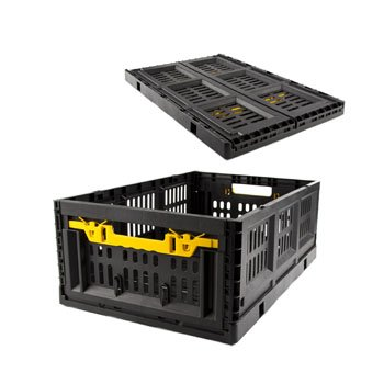 Crate Plastic Collapsible Stackable Black, Case Pack of 5