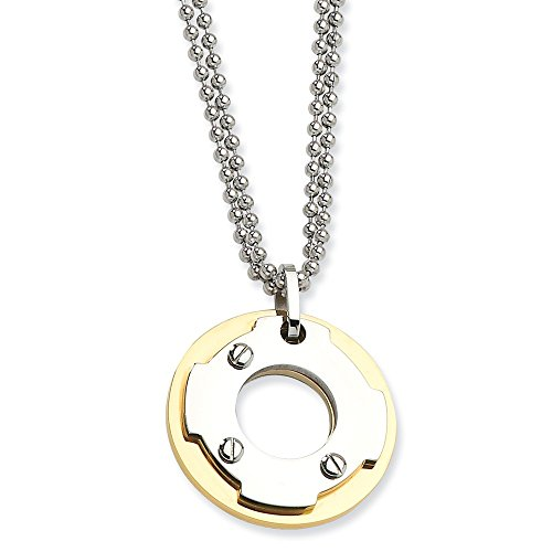 Roy Rose Jewelry Stainless Steel Yellow IP-Plated Circle Double Necklace 22'' inches Length