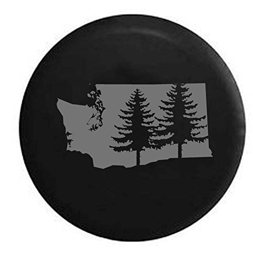 Pike Stealth - Washington Pine Trees Home State Edition RV Spare Tire Cover OEM Vinyl Black 27.5 in by Pike Outdoors