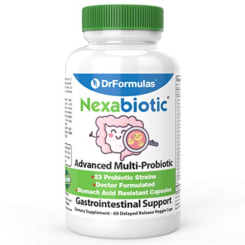 DrFormulas' Best Probiotics for Women & Men | Nexabiotic Multi Probiotic with Saccharomyces Boulardii, Lactobacillus Acidophilus, B. infantis, Prebiotic 60 Count Capsules (Not Pearls) (Early Symptoms Of Down Syndrome In Infants)