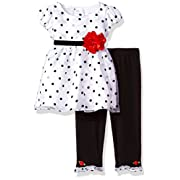 Youngland Baby Girls Polka Dot Dress With Flower Detail and Legging, White/Black, 0-3 Months