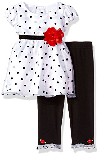 Youngland Baby Girls Polka Dot Dress With Flower Detail and Legging, White/Black, 24M