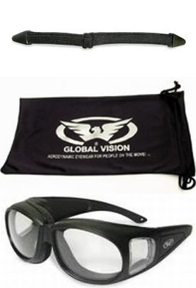 Motorcycle Safety Sunglasses Fits Over Prescription Rx Glasses Clear Lenses Meets ANSI Z87.1 Standards For Safety Glasses Has Soft Airy Foam Padding Comes with Storage Pouch and - Prescription Motorcycle Glasses