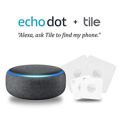 Echo Dot (3rd Gen) - Charcoal Fabric Bundle with Tile Mate with Replaceable Battery and Tile Slim - 4 pack (2 x Mate, 2 x Slim) - NEW