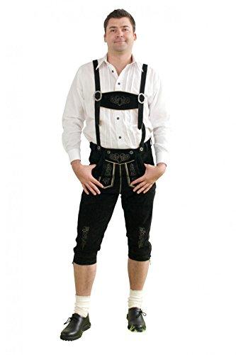 Herren Trachten Kniebundhose schwarz aus feinstem Rindsveloursleder Gr 50