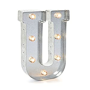 Darice Silver Metal Marquee Letter U – Industrial, Vintage Style Light Up Letter Includes an On/Off Switch, Perfect for Events or Home Décor (5915-721)