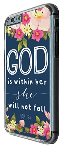 640 - Christiaon Quote Floral Shabby Chic God is Within Her she will not fall Design iphone 6 PLUS / iphone 6 PLUS S 5.5'' Coque Fashion Trend Case Coque Protection Cover plastique et métal