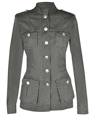 - Noroze Ladies Military Style Summer Jacket (10(UK 14), Silver Button Khaki)