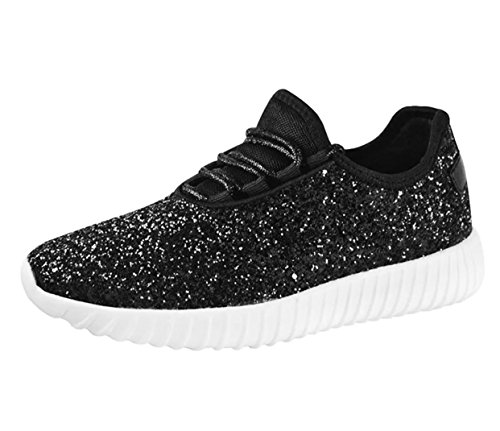 SF Forever Link Remy-18 Women&Kids Jogger Sneaker-Lightweight Glitter Quilted Lace Up Shoes New (8, Black-18)