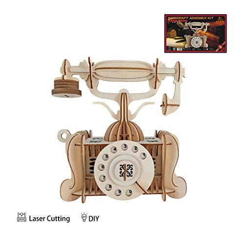 (iFeiFei Vintage Telephone 3D Puzzle Laser Wooden Model DIY Children's Creative Toys Teaching aids)