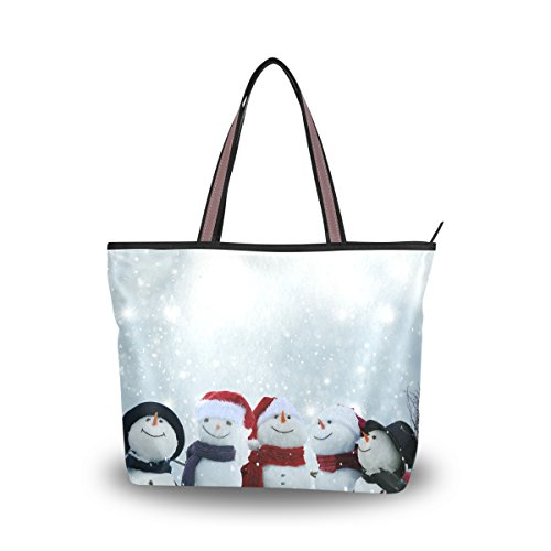 JSTEL Women Large Tote Top Handle Shoulder Bags Snowmen Winter Christmas Patern Ladies Handbag M Christmas Purse