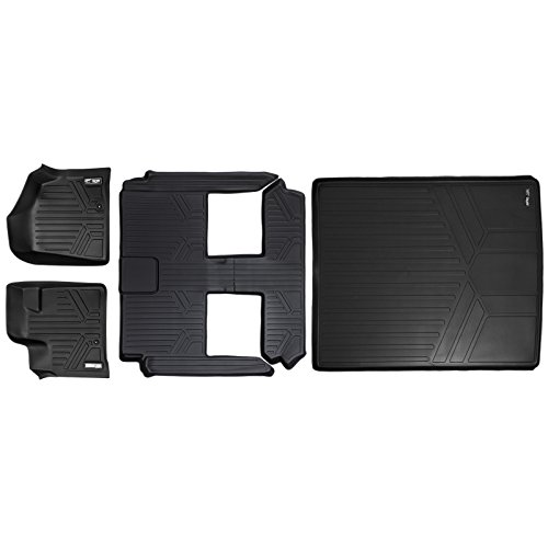 SMARTLINER Floor Mats 3 Rows and Cargo Liner Behind 2nd Row Set Black for 2008-2018 Caravan / Town & Country (Stow'n Go Only) ()