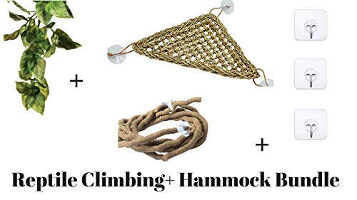 Bearded Dragon and Iguana Cage Kit: Bearded Dragon Hammock,Reptile Vines, leaves and Heavy duty hooks.These Bearded Dragon Accessories are perfect as Reptile Tank Decor. Works as a Lizard Hammock - Branch Iguana